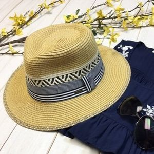 BRAND NEW Woven Panama Style Sun Hat w/Navy Trim